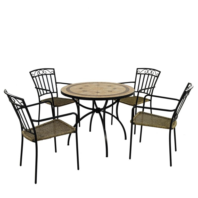 RICHMOND 91CM PATIO WITH 4 MODENA CHAIR SET