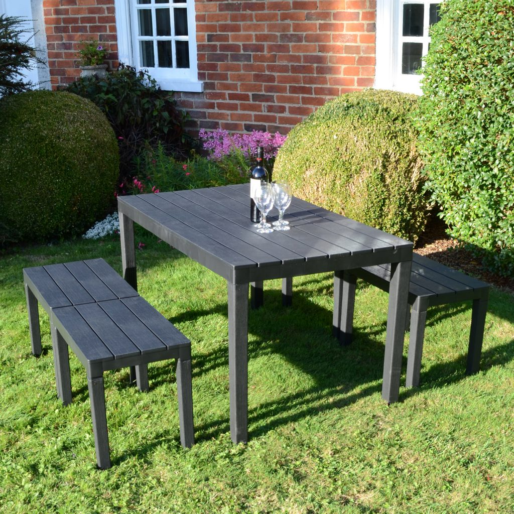 Roma Rectangular Table With 4 Roma Bench Set Anthracite