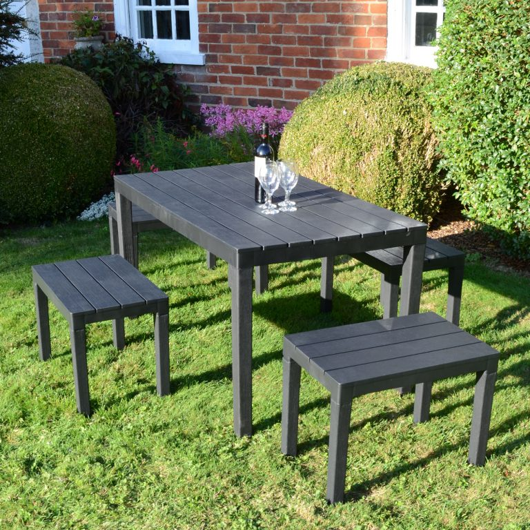 ROMA RECTANGULAR TABLE WITH 4 ROMA BENCH SET ANTHRACITE OUTDOOR 2