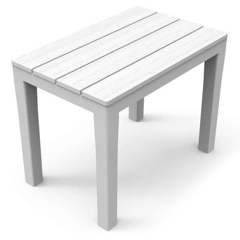 ROMA RECTANGULAR TABLE WITH 4 ROMA BENCH SET WHITE BENCH