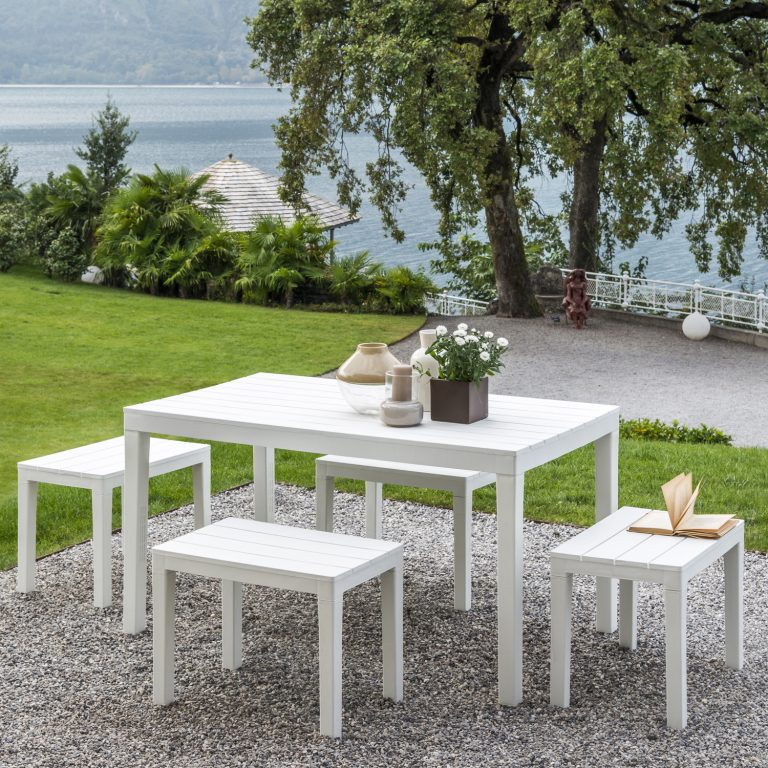ROMA RECTANGULAR TABLE WITH 4 ROMA BENCH SET WHITE OUTDOOR 1