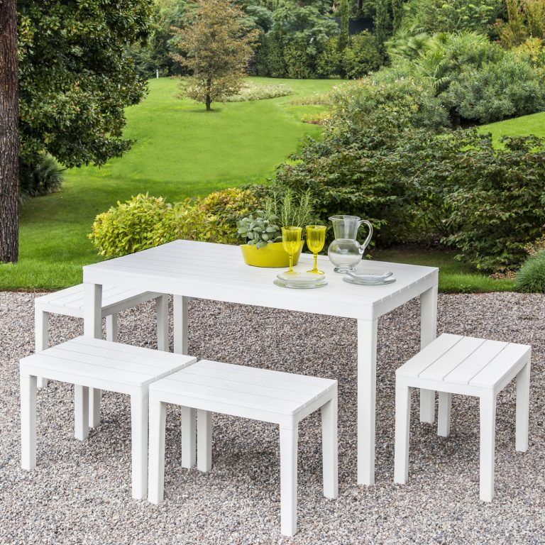 ROMA RECTANGULAR TABLE WITH 4 ROMA BENCH SET WHITE OUTDOOR 2