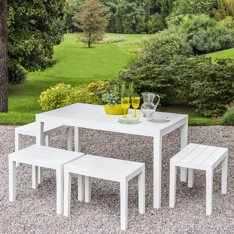 ROMA RECTANGULAR TABLE WITH 4 ROMA BENCH SET WHITE OUTDOOR 2