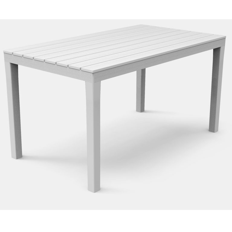 ROMA RECTANGULAR TABLE WITH 4 ROMA BENCH SET WHITE TABLE