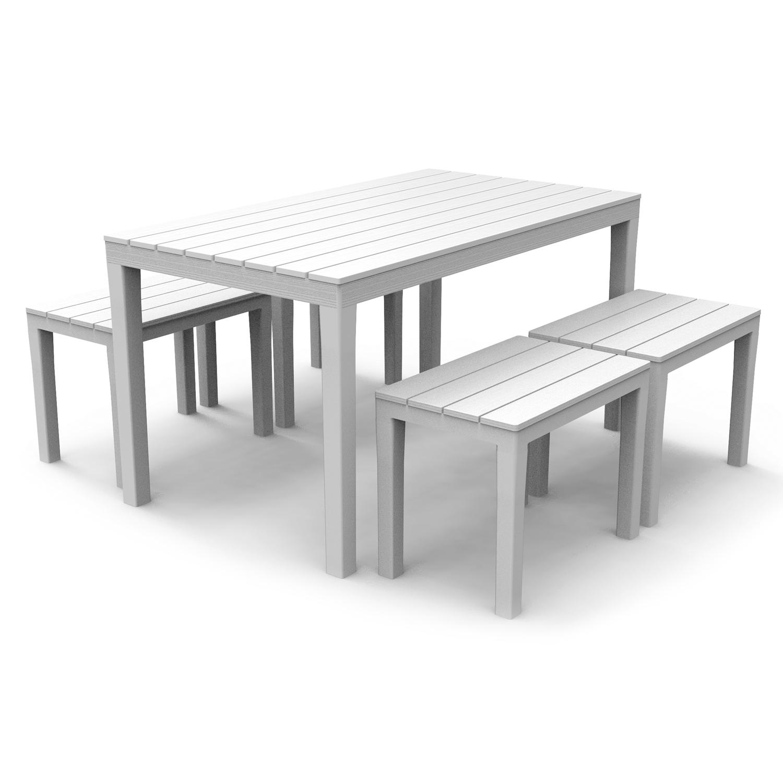 ROMA RECTANGULAR TABLE WITH 4 ROMA BENCH SET WHITE