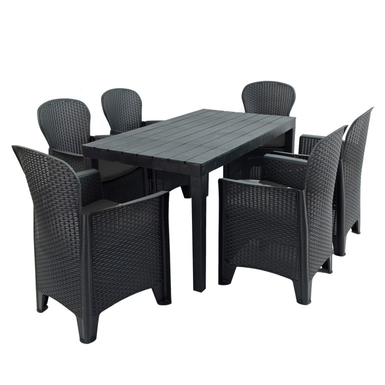 ROMA RECTANGULAR TABLE WITH 6 SICILY CHAIRS SET ANTHRACITE