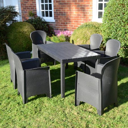 ROMA RECTANGULAR TABLE WITH 6 SICILY CHAIRS SET ANTHRACITE OUTDOOR