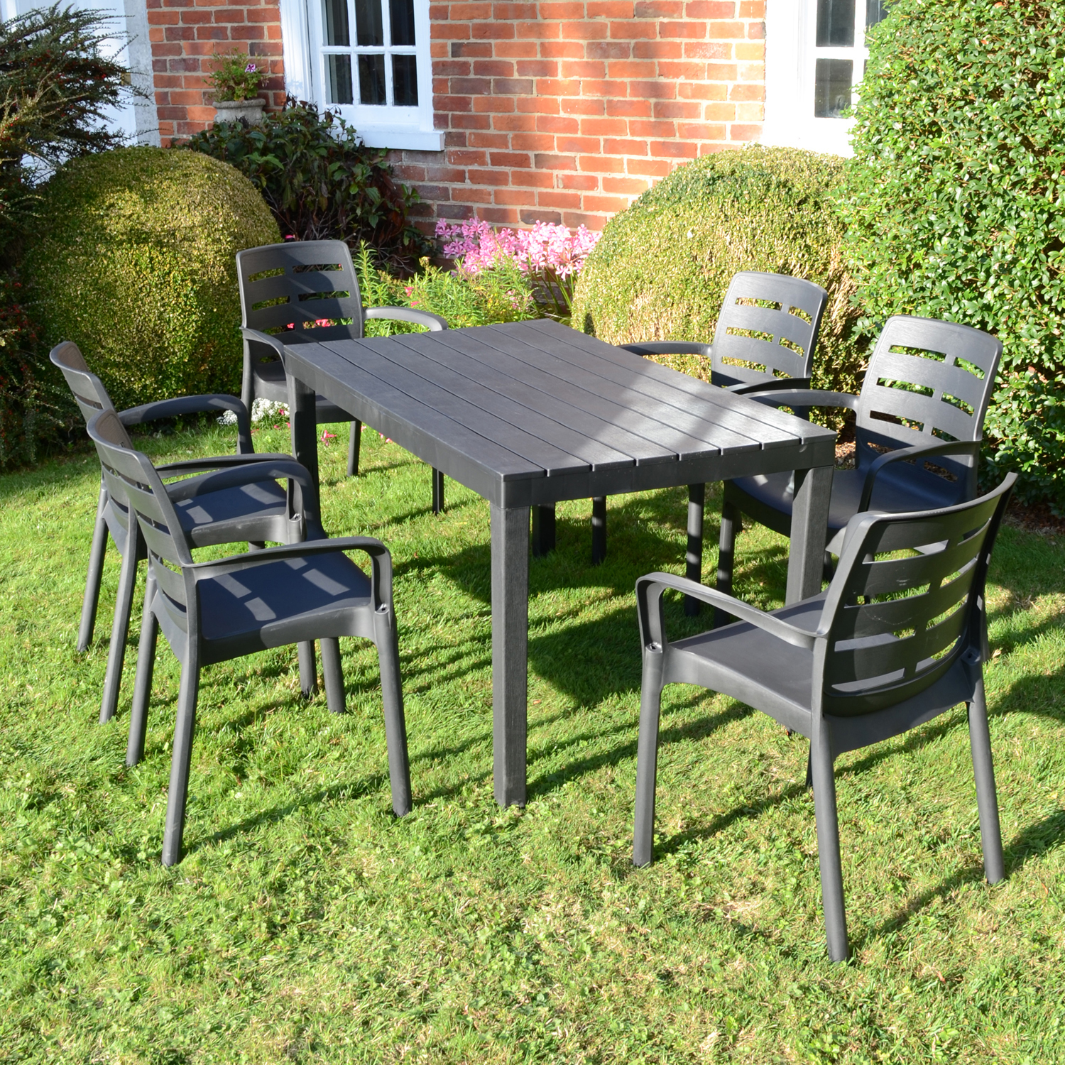 ROMA RECTANGULAR TABLE WITH 6 SIENA CHAIRS SET ANTHRACITE OUTDOOR