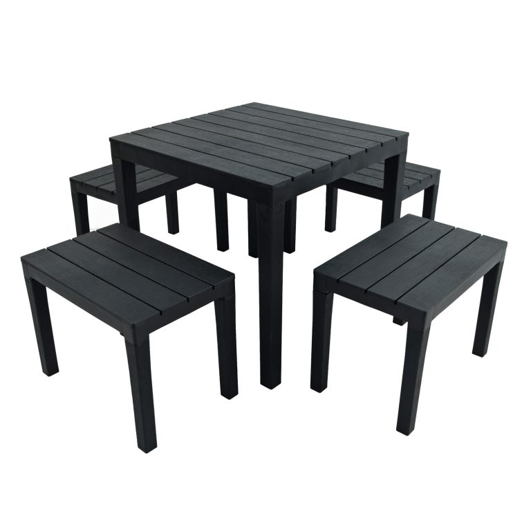 ROMA SQUARE TABLE WITH 4 ROMA BENCH SET ANTHRACITE