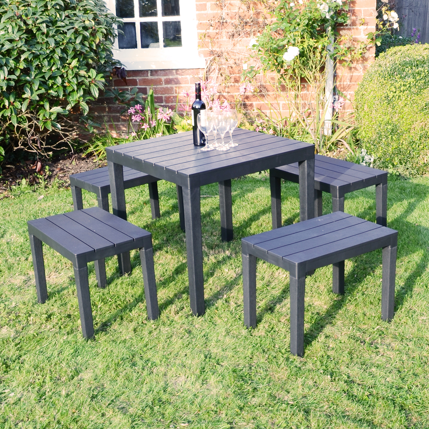ROMA SQUARE TABLE WITH 4 ROMA BENCH SET ANTHRACITE OUTDOOR