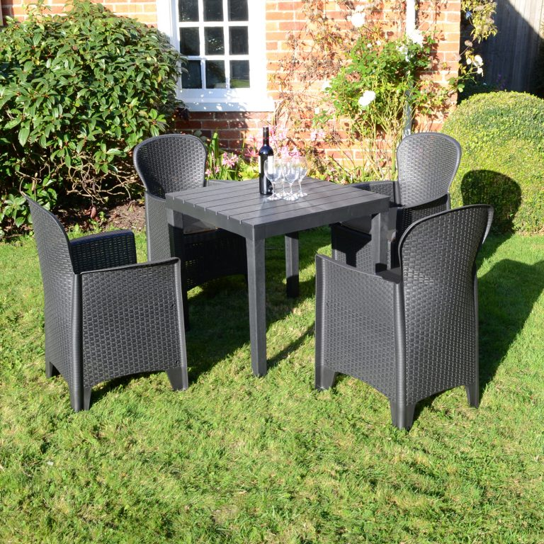 ROMA SQUARE TABLE WITH 4 SICILY CHAIRS SET ANTHRACITE OUTDOOR