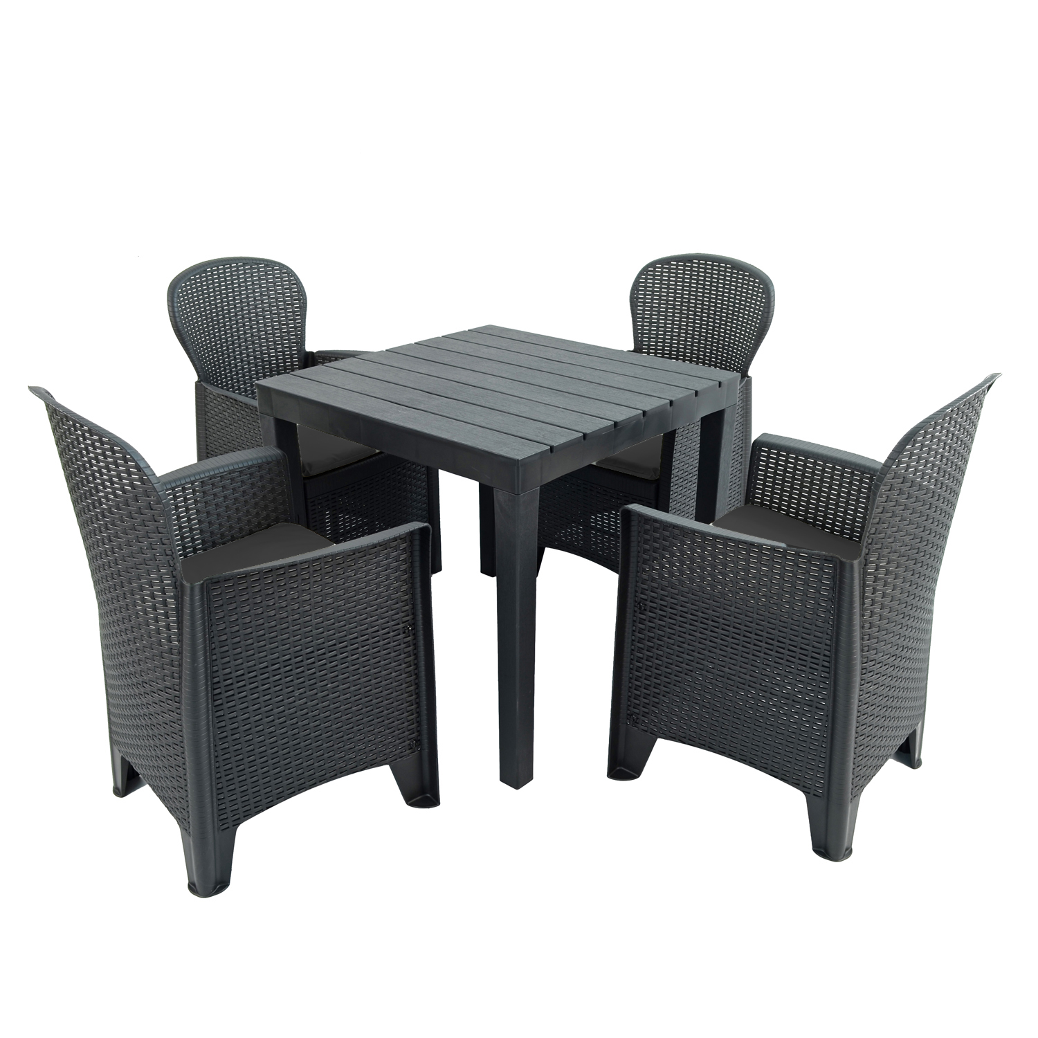 ROMA SQUARE TABLE WITH 4 SICILY CHAIRS SET ANTHRACITE