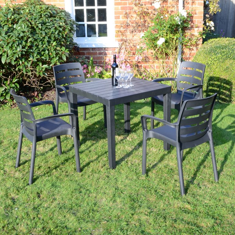 ROMA SQUARE TABLE WITH 4 SIENA CHAIRS SET ANTHRACITE OUTDOOR