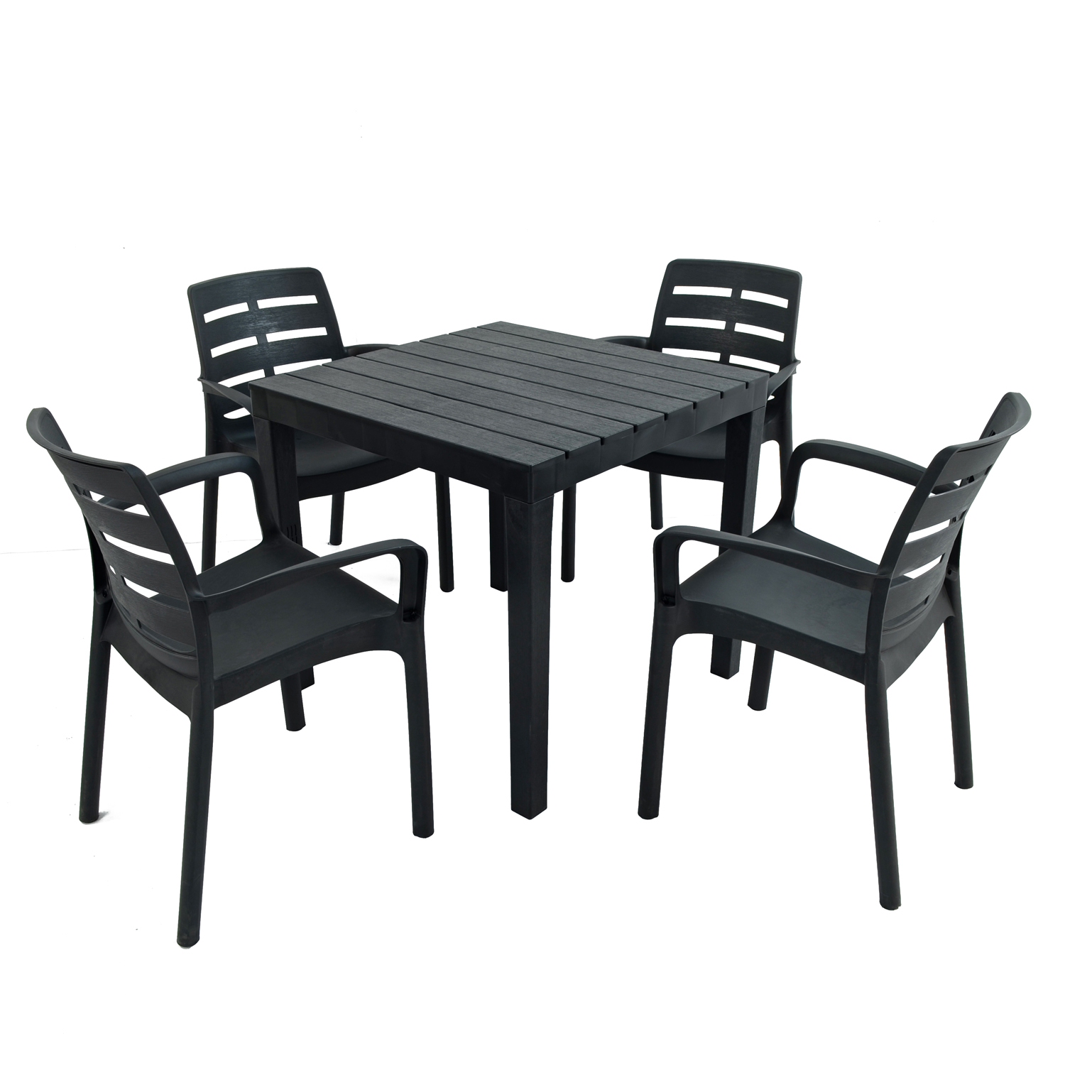 ROMA SQUARE TABLE WITH 4 SIENA CHAIRS SET ANTHRACITE
