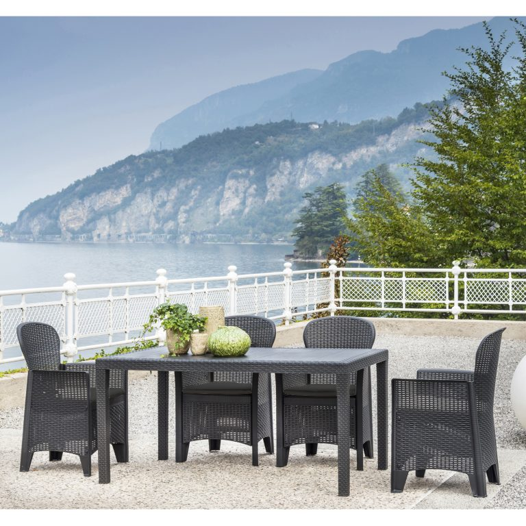 SALERNO DINING TABLE WITH 6 SICILY CHAIRS SET ANTHRACITE OUTDOOR 2