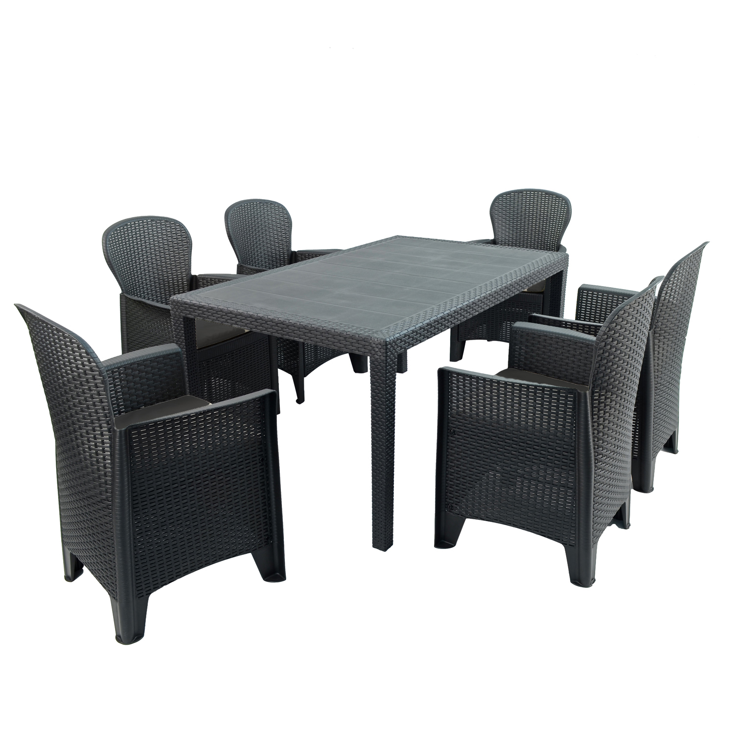 SALERNO DINING TABLE WITH 6 SICILY CHAIRS SET ANTHRACITE