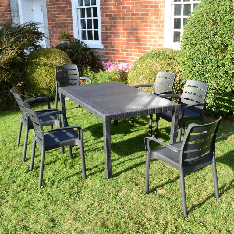 SALERNO DINING TABLE WITH 6 SIENA CHAIRS SET ANTHRACITE OUTDOOR