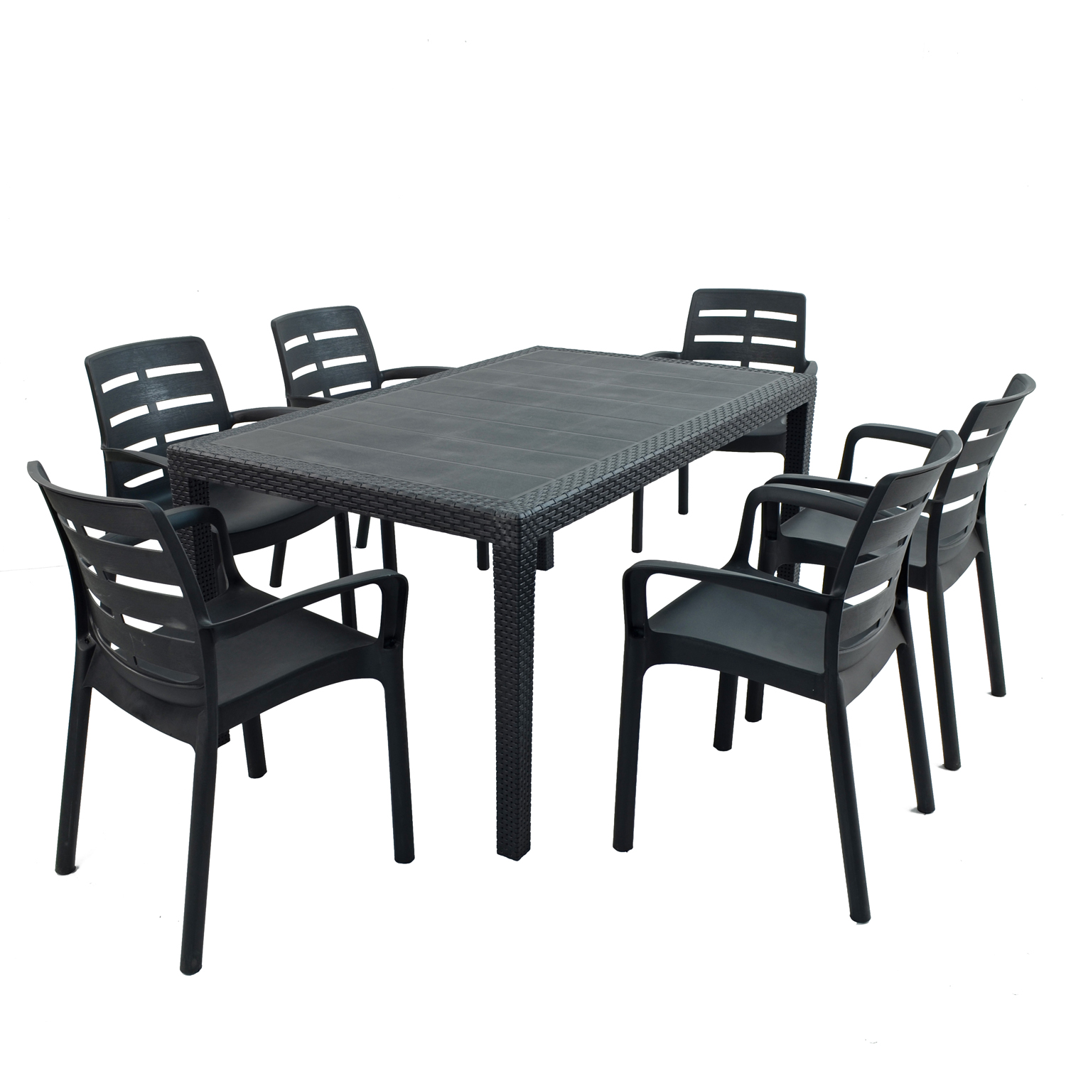 SALERNO DINING TABLE WITH 6 SIENA CHAIRS SET ANTHRACITE