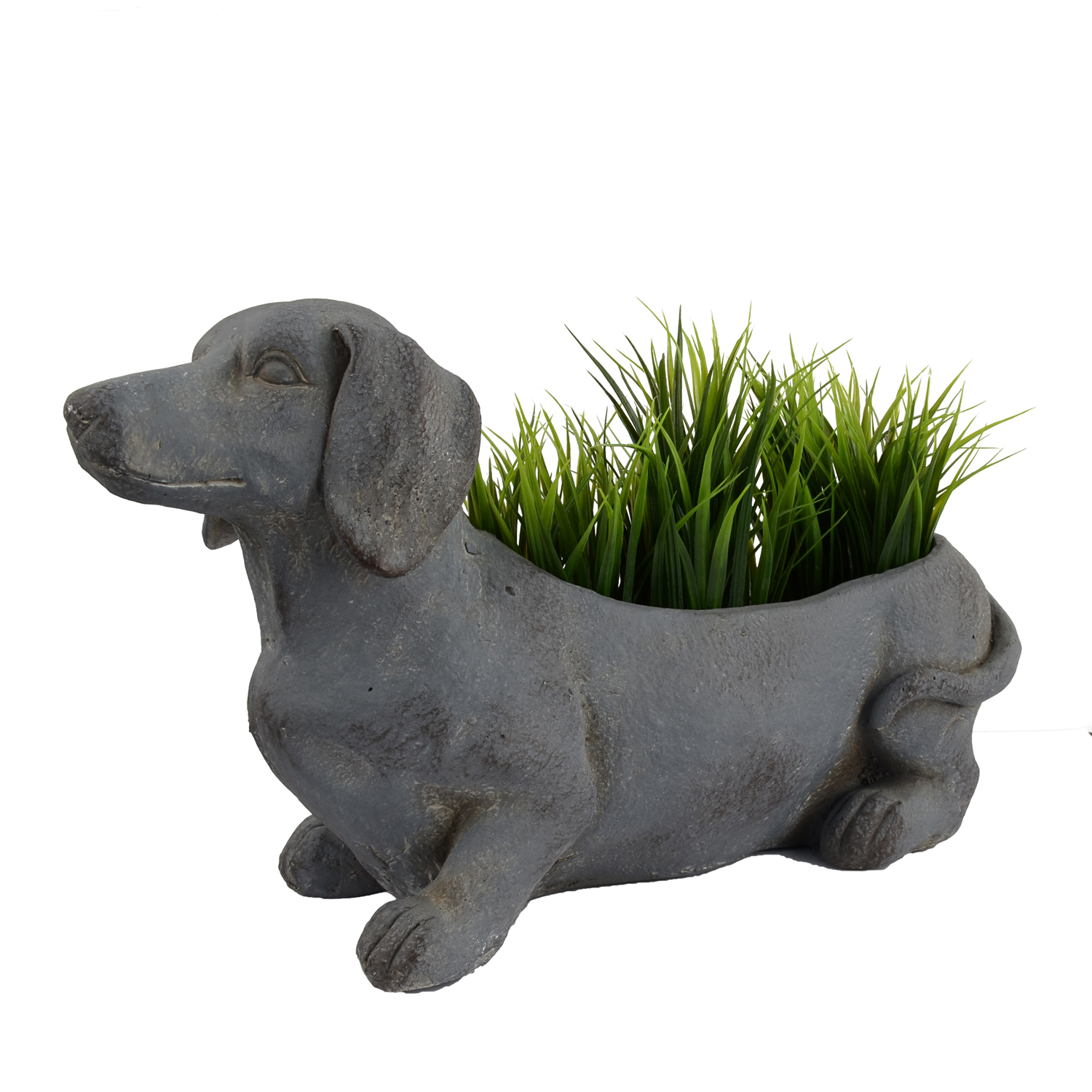 SAUSAGE DOG PLANTER 30CM BLUE IRON EFFECT DETAIL