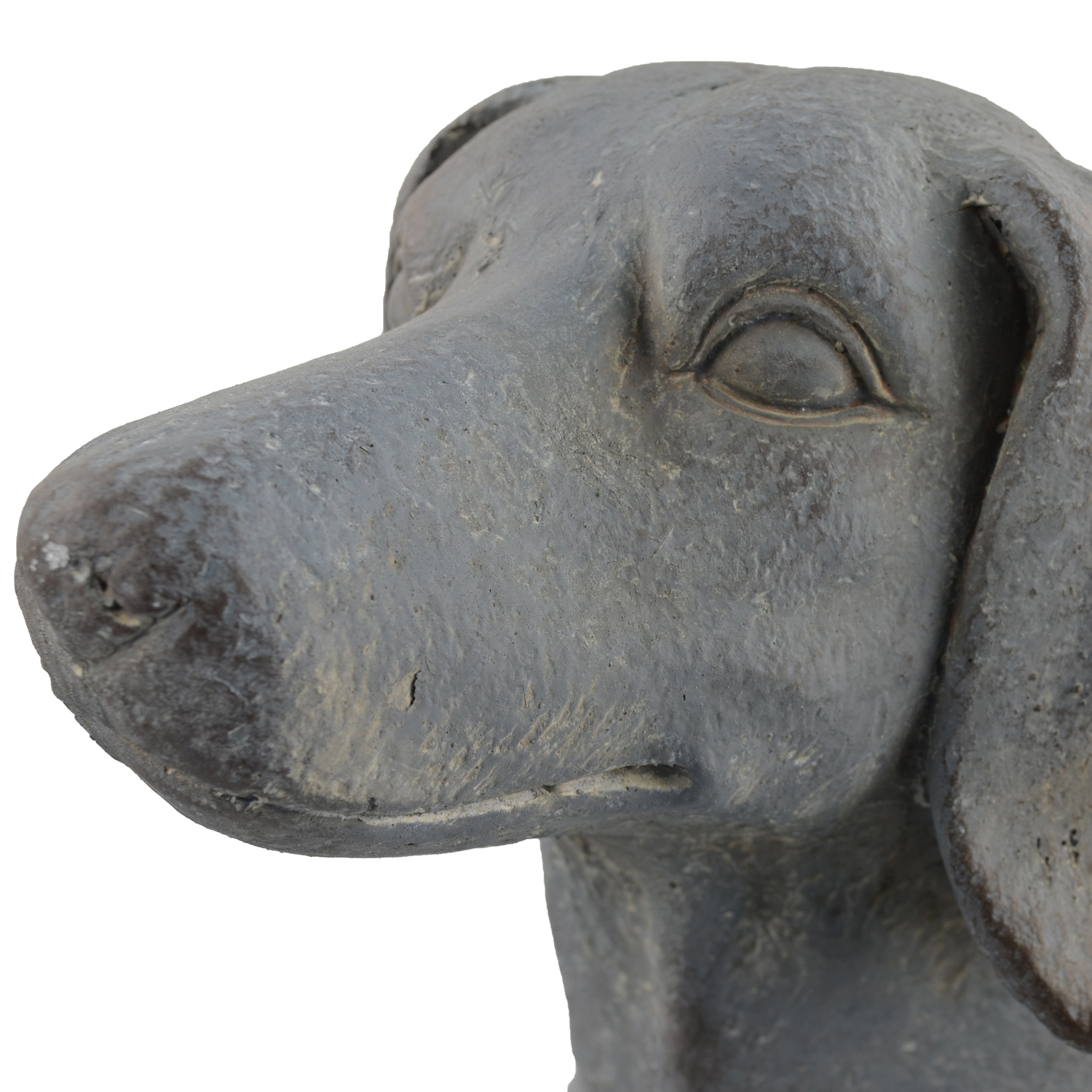 SAUSAGE DOG PLANTER 30CM BLUE IRON EFFECT DETAIL1