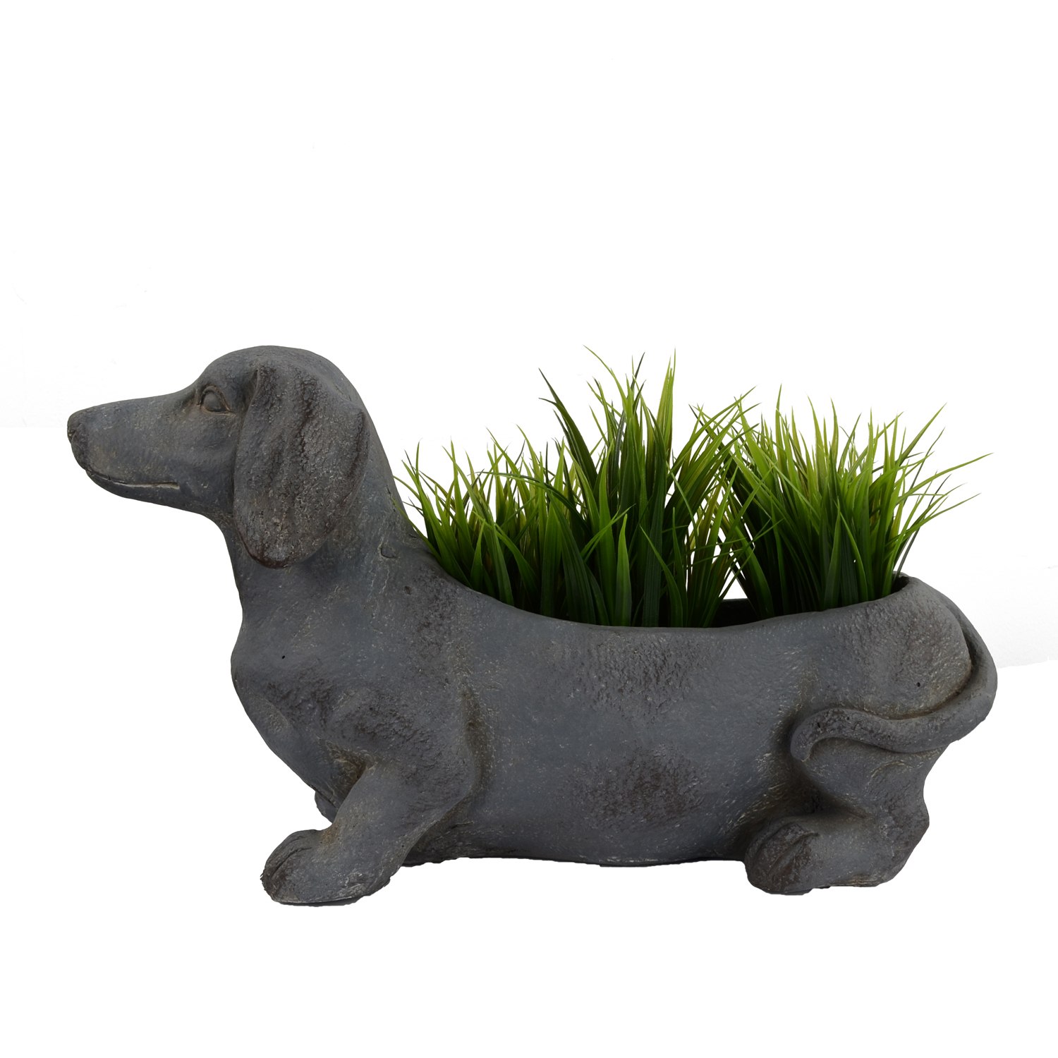 SAUSAGE DOG PLANTER 30CM BLUE IRON EFFECT DETAIL2