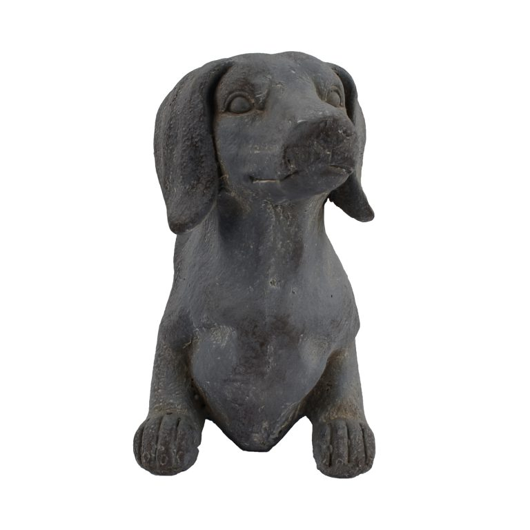 SAUSAGE DOG PLANTER 30CM BLUE IRON EFFECT FRONT