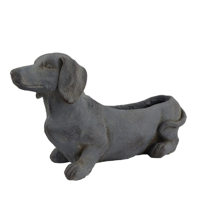 SAUSAGE DOG PLANTER 30CM BLUE IRON EFFECT FRONT LEFT
