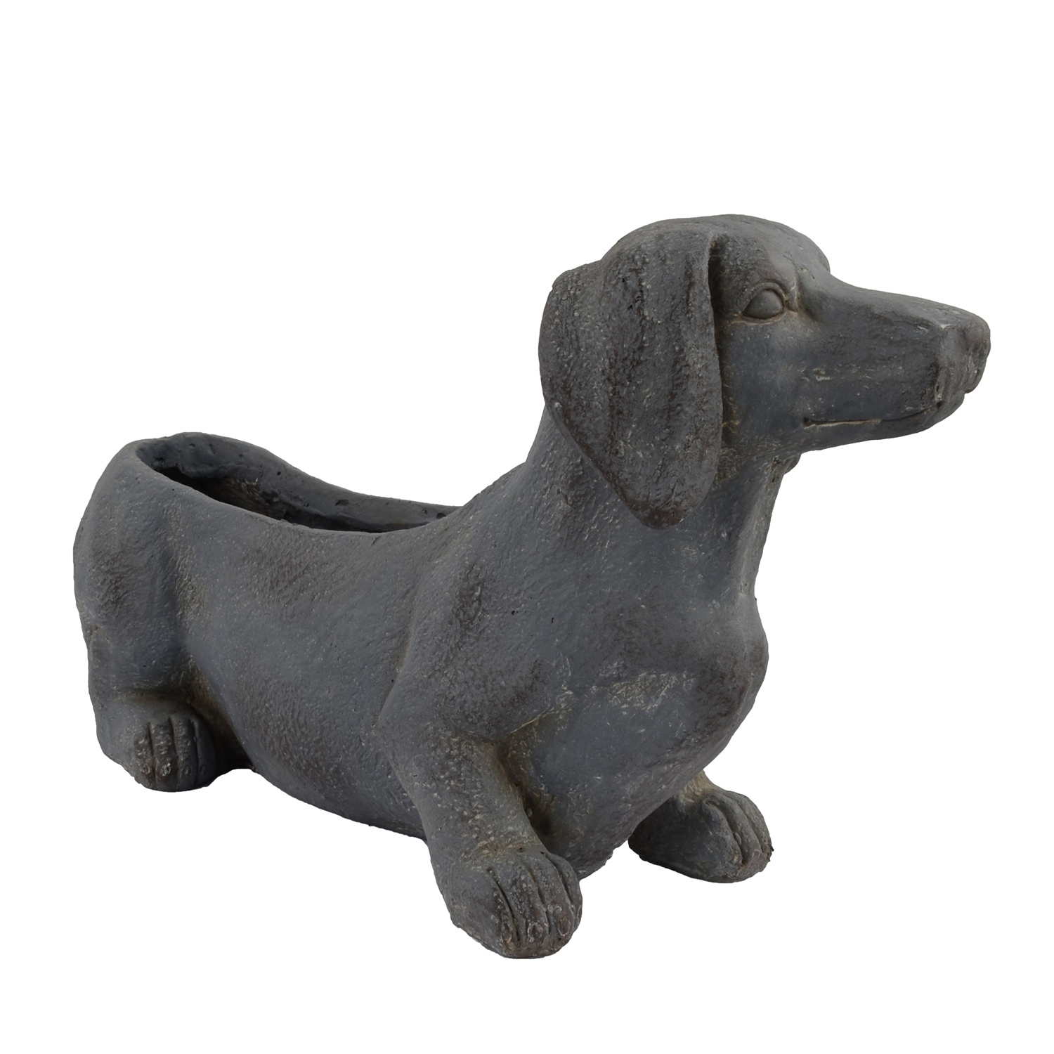 SAUSAGE DOG PLANTER 30CM BLUE IRON EFFECT FRONT RIGHT