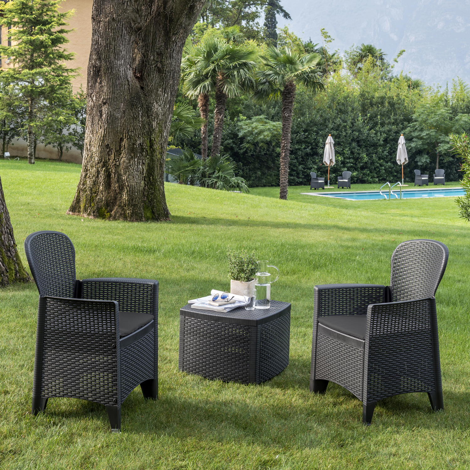 SICILY SIDE TABLE WITH 2 SICILY CHAIRS SET ANTHRACITE OUTDOOR 1