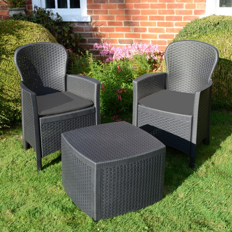 SICILY SIDE TABLE WITH 2 SICILY CHAIRS SET ANTHRACITE OUTDOOR 2