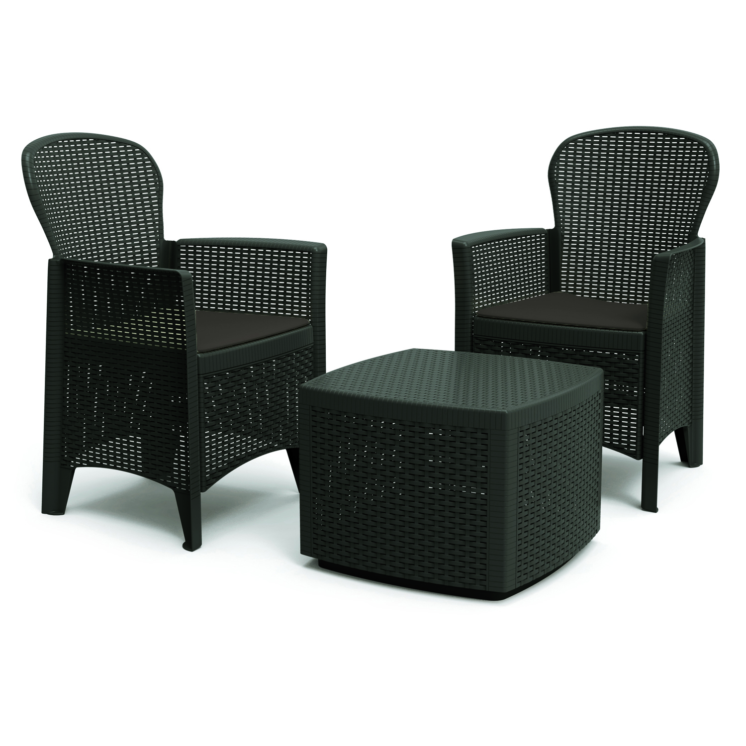 SICILY SIDE TABLE WITH 2 SICILY CHAIRS SET ANTHRACITE