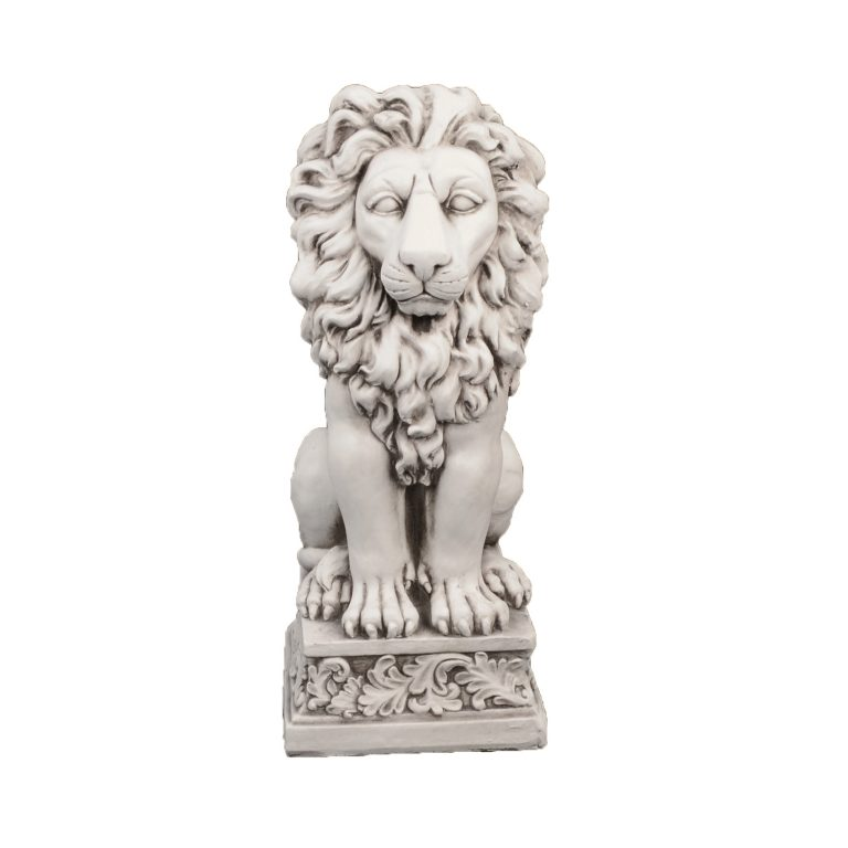 SMALL LION 61CM ANTIQUE STONE EFFECT FRONT