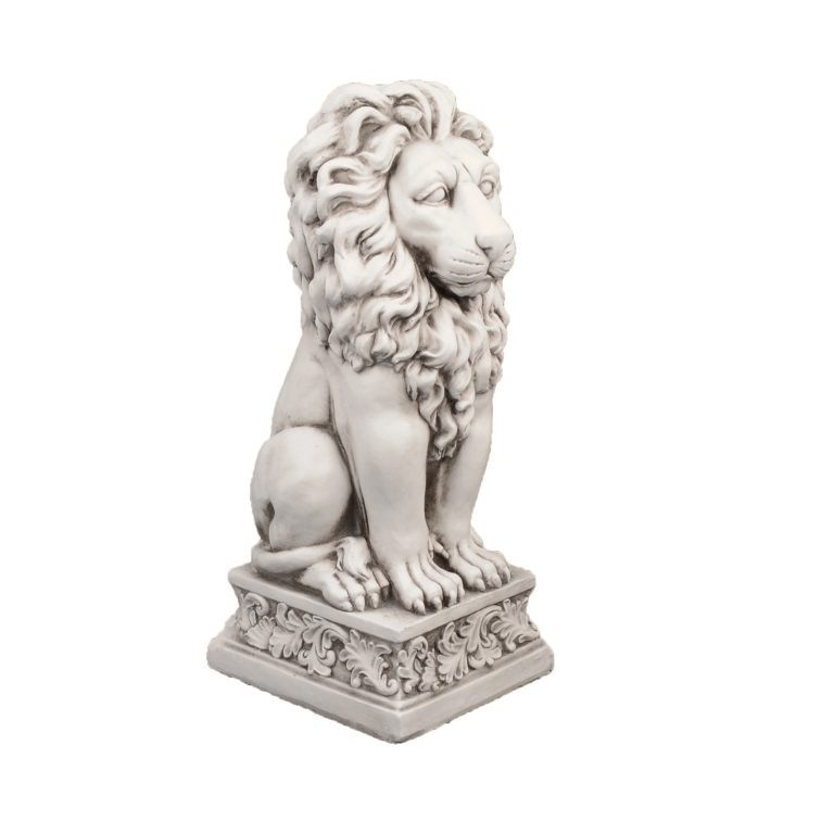 SMALL LION 61CM ANTIQUE STONE EFFECT FRONT RIGHT