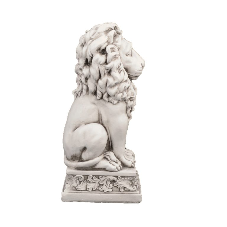 SMALL LION 61CM ANTIQUE STONE EFFECT RIGHT
