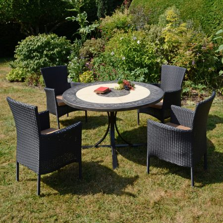 ST MALO DINING TABLE WITH 4 STOCKHOLM BLACK CHAIR SET OUTDOOR