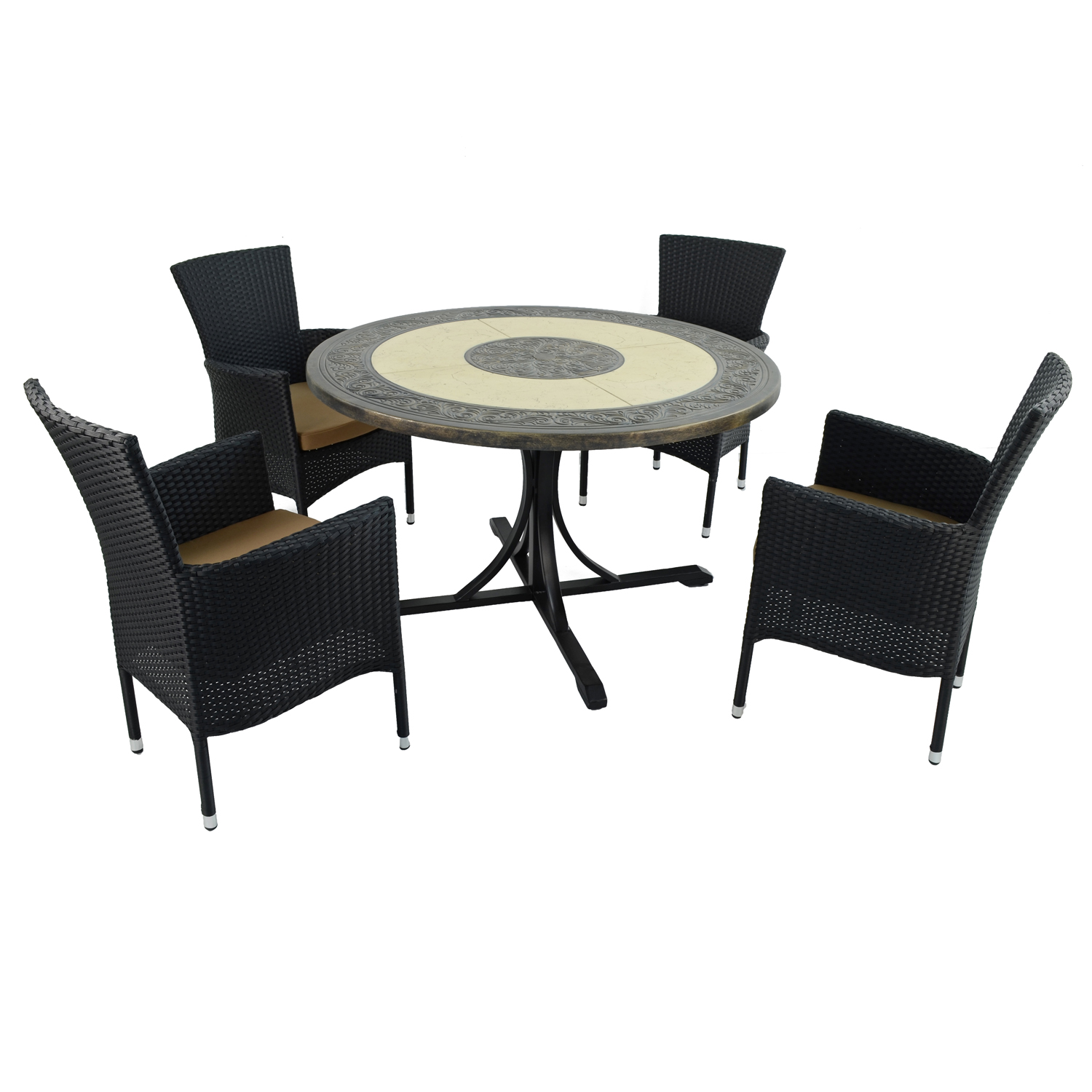ST MALO DINING TABLE WITH 4 STOCKHOLM BLACK CHAIR SET