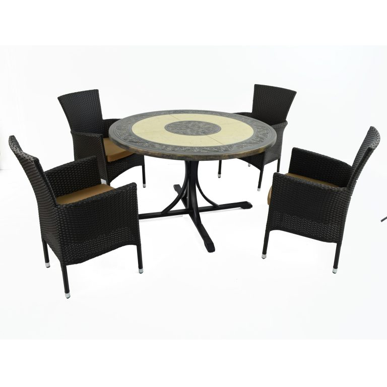 ST MALO DINING TABLE WITH 4 STOCKHOLM BROWN CHAIR SET