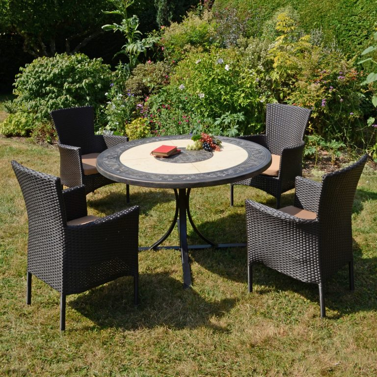 ST MALO DINING TABLE WITH 4 STOCKHOLM BROWN CHAIR SET OUTDOOR