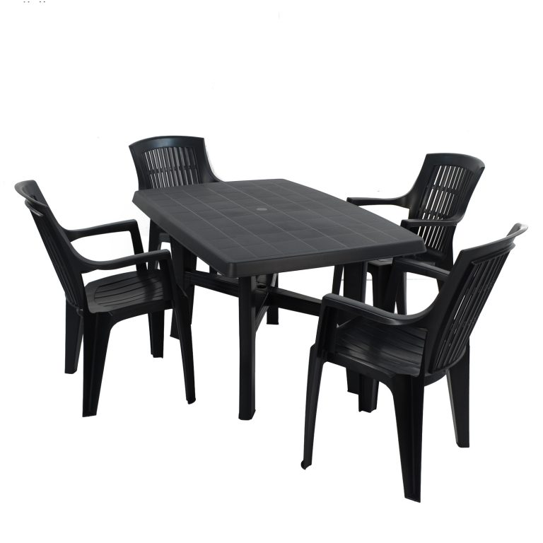 TARANTO TABLE WITH 4 PARMA CHAIRS SET ANTHRACITE