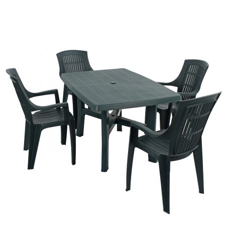 TARANTO TABLE WITH 4 PARMA CHAIRS SET GREEN