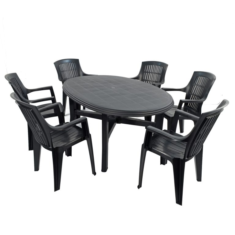 TERAMO TABLE WITH 6 PARMA CHAIRS SET ANTHRACITE