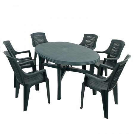 TERAMO TABLE WITH 6 PARMA CHAIRS SET GREEN