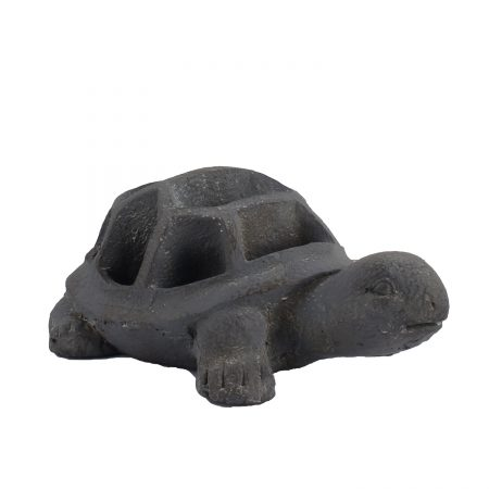 TORTOISE PLANTER 15CM BLUE IRON EFFECT FRONT RIGHT