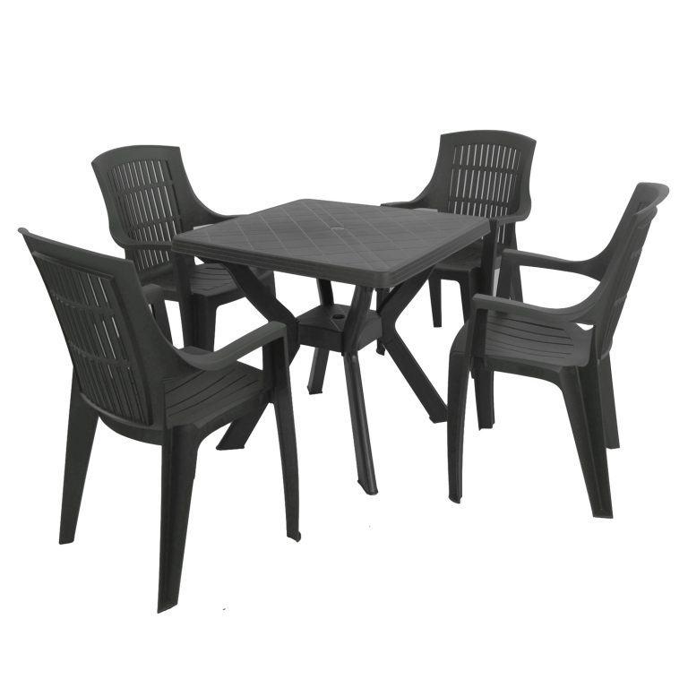 TURIN TABLE WITH 4 PARMA CHAIRS SET ANTHRACITE