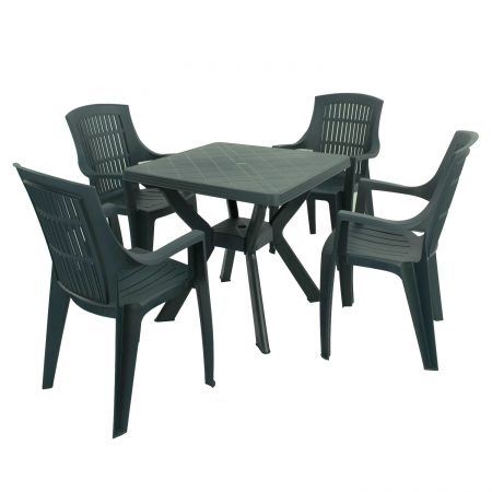 TURIN TABLE WITH 4 PARMA CHAIRS SET GREEN
