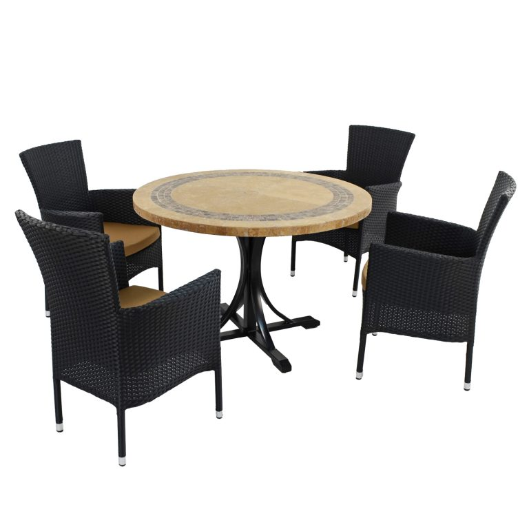 VERMONT DINING TABLE WITH 4 STOCKHOLM BLACK CHAIR SET