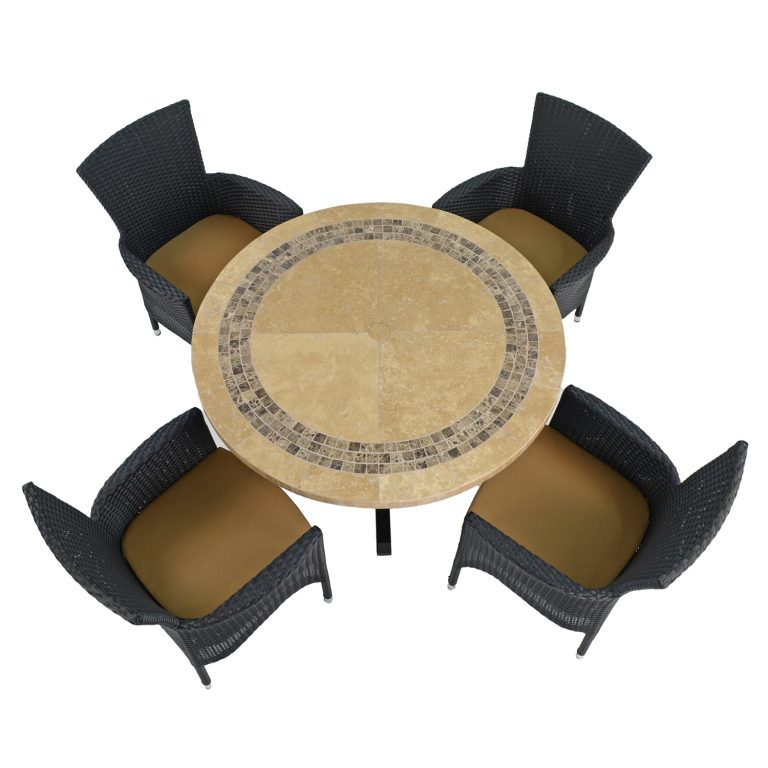 VERMONT DINING TABLE WITH 4 STOCKHOLM BLACK CHAIRS SET WG1