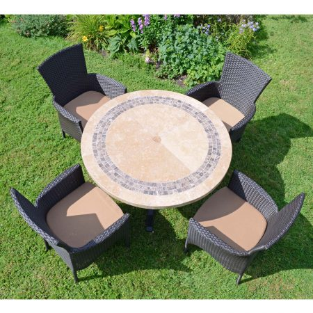VERMONT DINING TABLE WITH 4 STOCKHOLM BROWN CHAIRS SET LG1