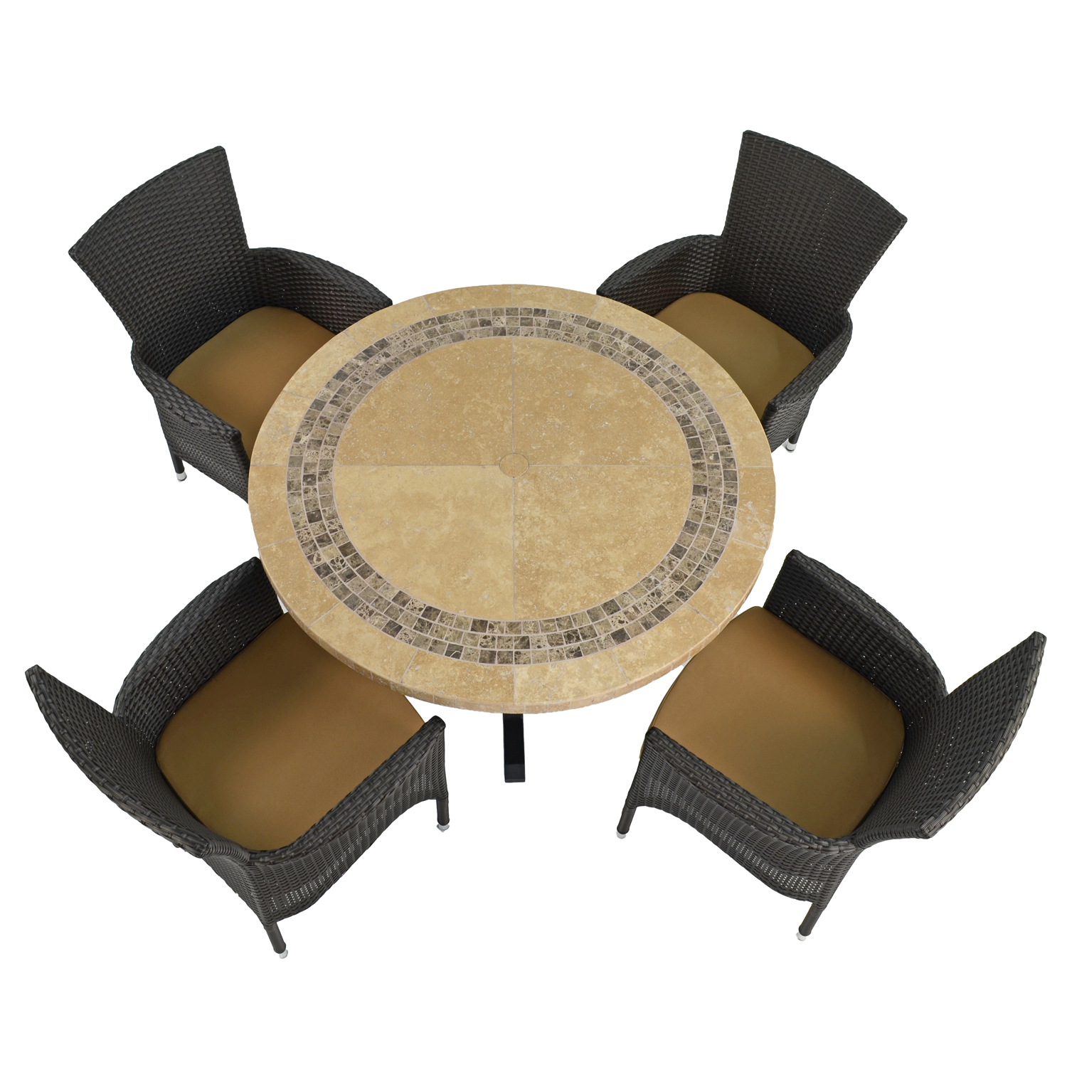 VERMONT DINING TABLE WITH 4 STOCKHOLM BROWN CHAIRS SET WG1