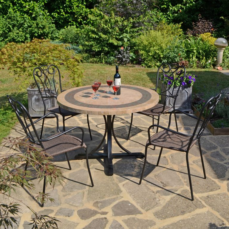 VERMONT DINING TABLE WITH 4 VERONA CHAIR SET OUTDOOR